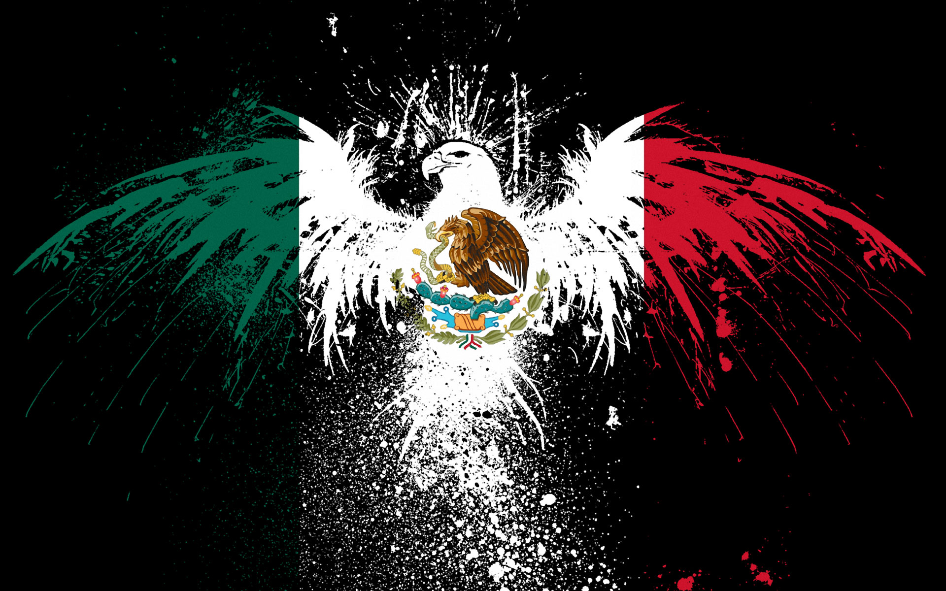 Symbol Wallpaper 1920x1200 Splash Symbol Eagles Flags Mexico 1920x1200