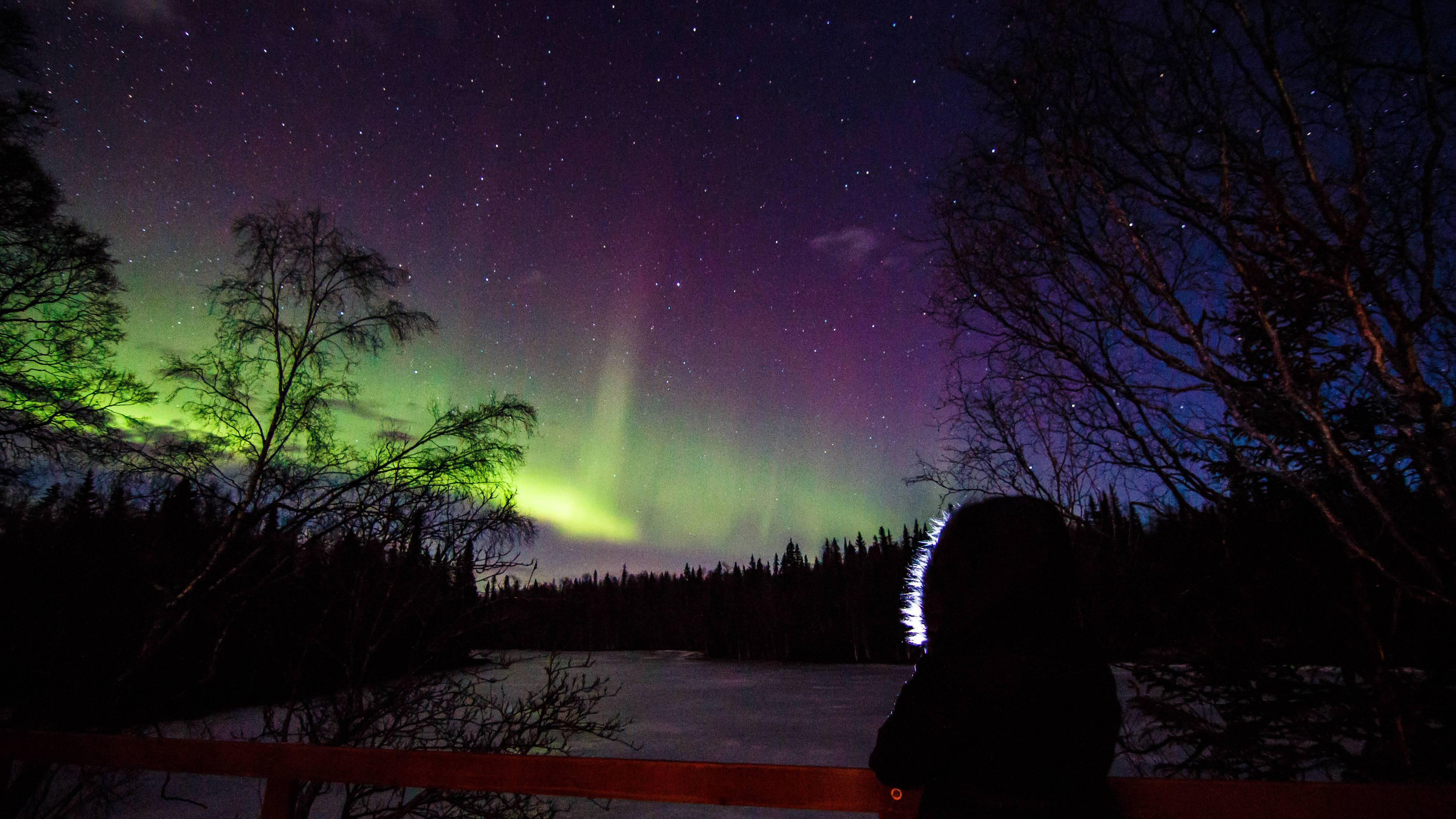Aurora display 32815 145am Nikiski Alaska OC [3840x2160] 3840x2160