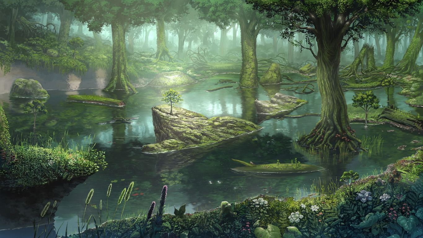 Forest swamp wallpaper 17518 1365x768