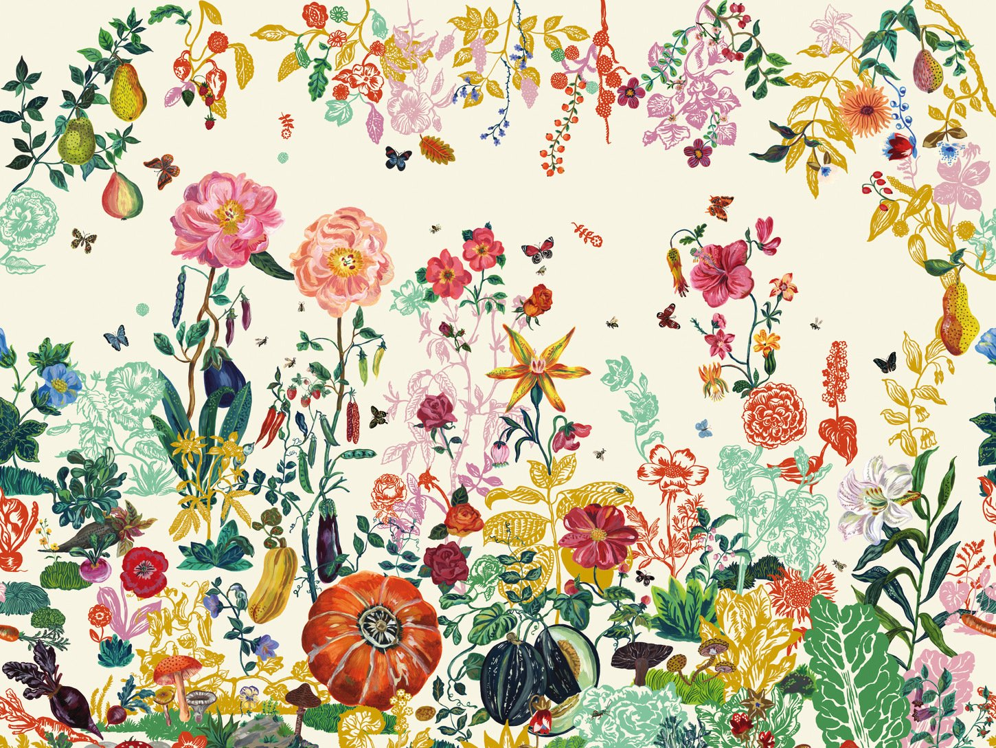 Free Download Wallpaper With Floral Pattern Jardin Creme By