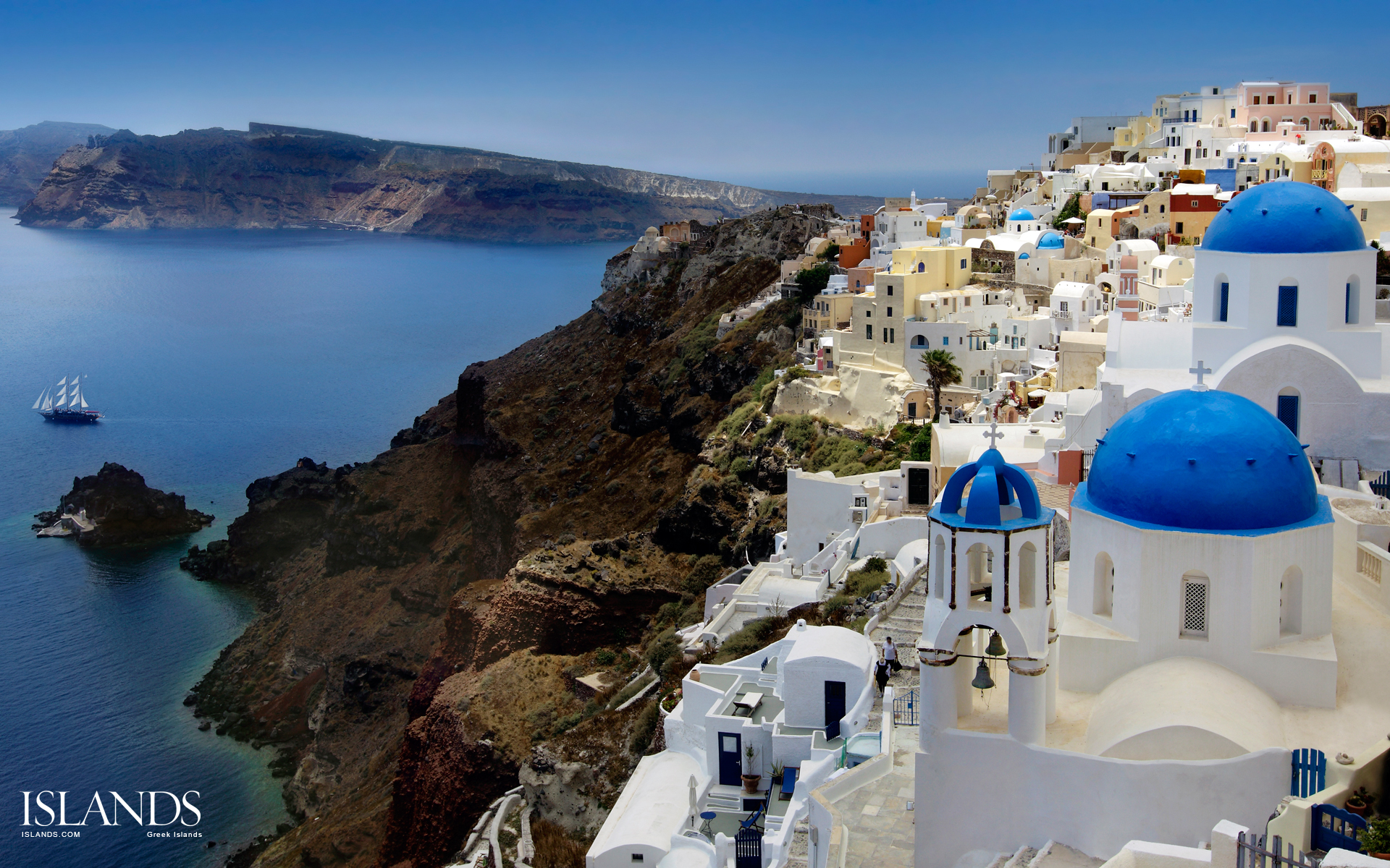 Santorini Wallpaper Romantic HD Wallpaper Background Images 1920x1200