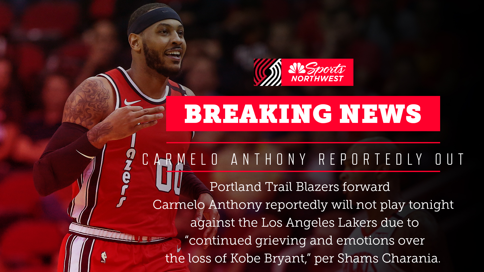 REPORT Carmelo Anthony not expected to play against the Los 1920x1080