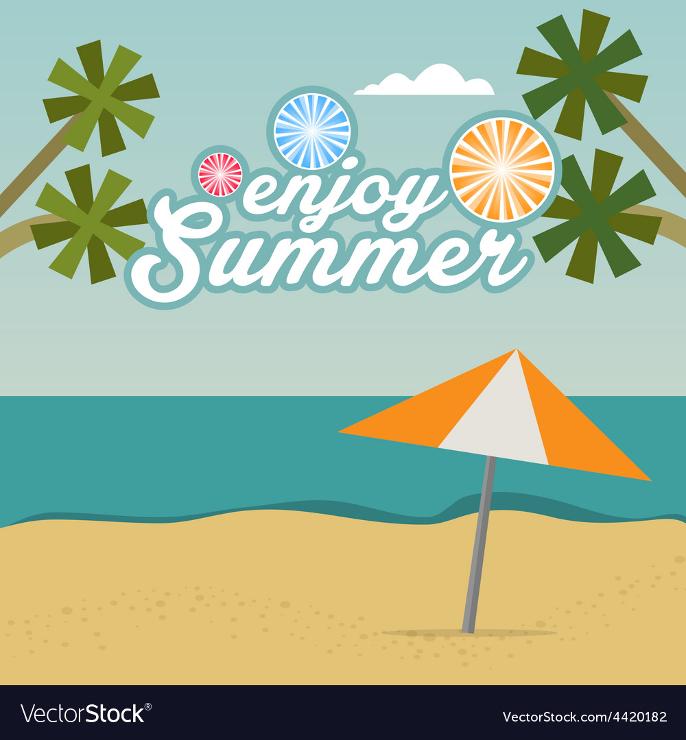 Enjoy Summer background with text Royalty Vector Image 1000x1080