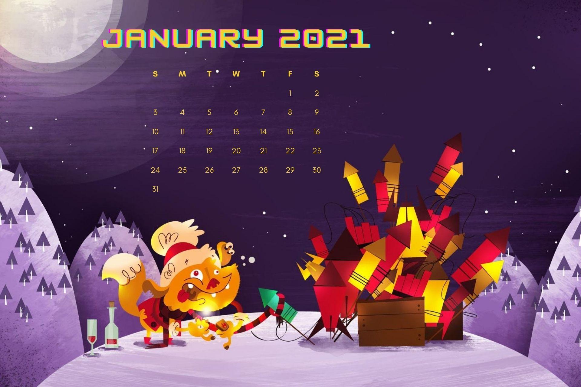 Beautiful January 2021 Calendar Wallpaper for desktop Calendar 1920x1280