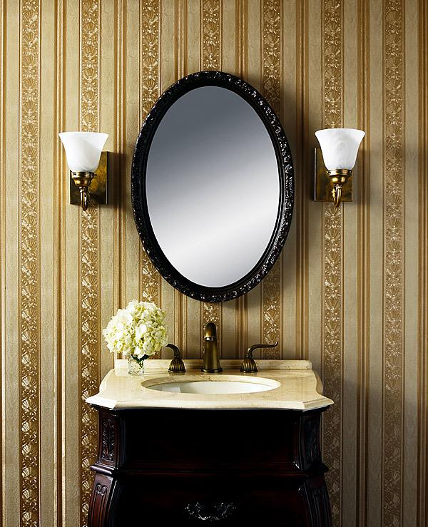 Gorgeous Gold Stripe Bathroom Wallpaper Brewster Wallcovering Blog 600x739