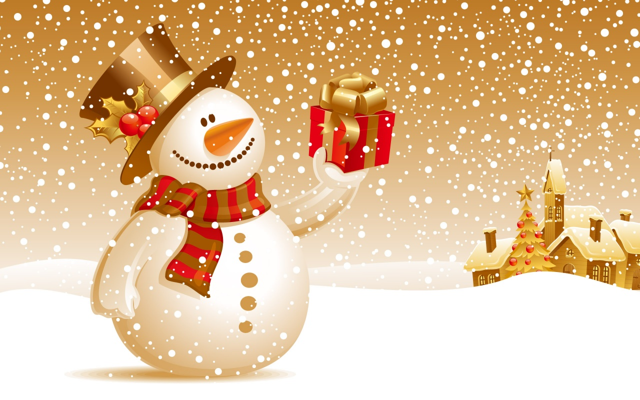 Snowman Christmas Gift Wallpapers HD Wallpapers 1280x800