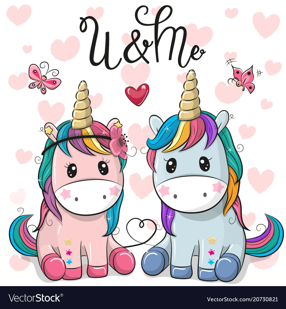Two cute unicorns on a hearts background Vector Image 1000x1080