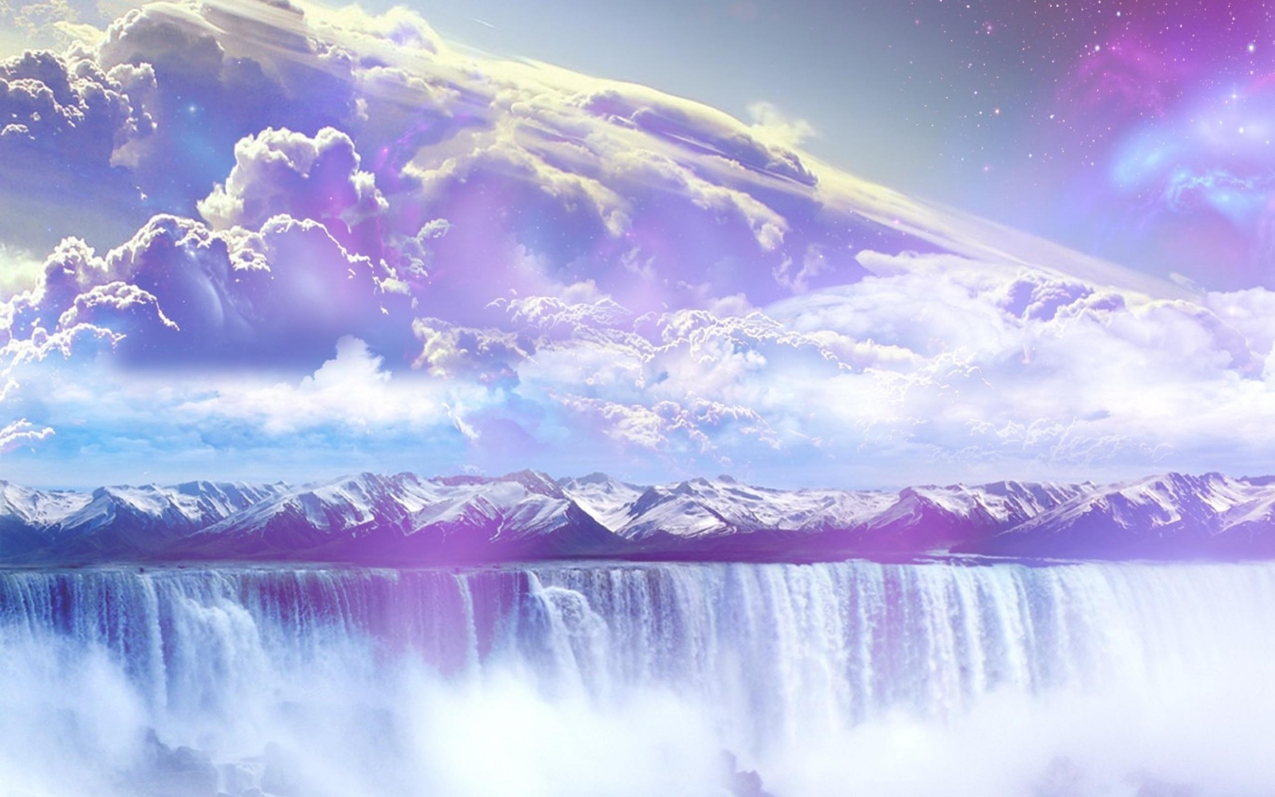 Водопад горы небо  № 5275  скачать