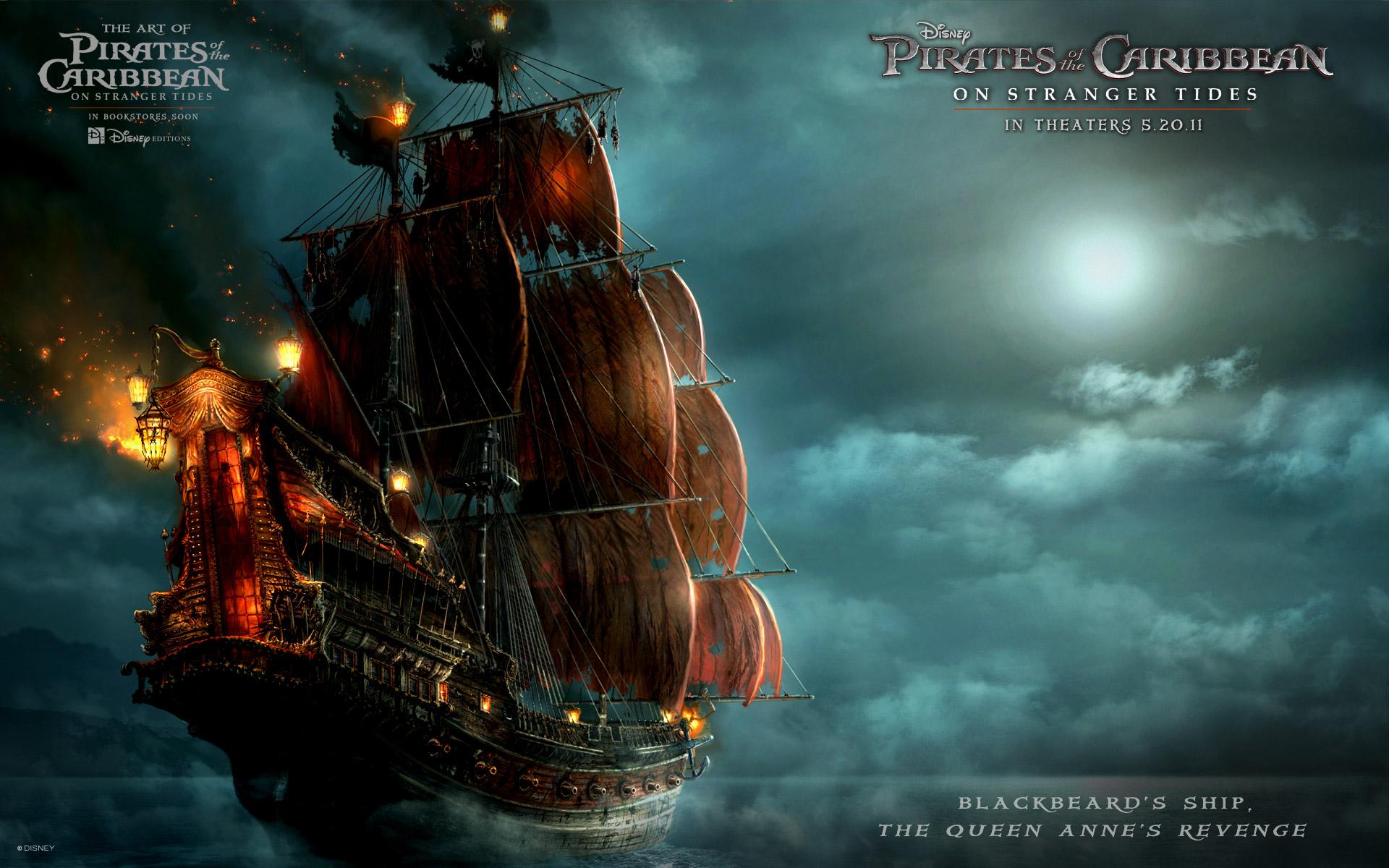 Blackbeards Ship in Pirates Of The Caribbean 4 HD Wallpaper 2479 1920x1200