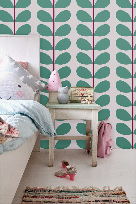 Peel and stick vinyl wallpaper   Leaf print   113 Light LATTE Light 570x855