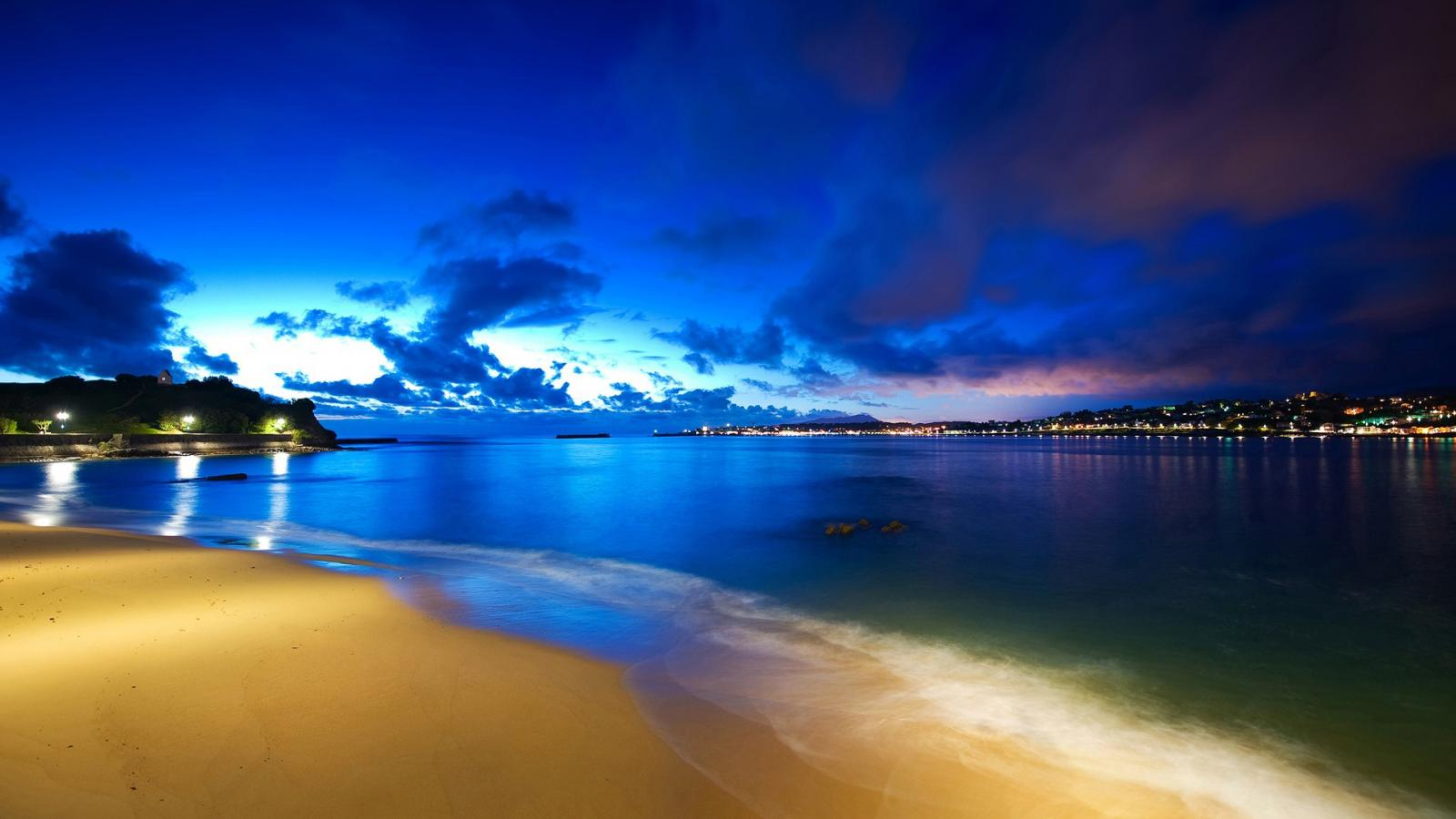 Night Beach Wallpaper Photographie 1600x900