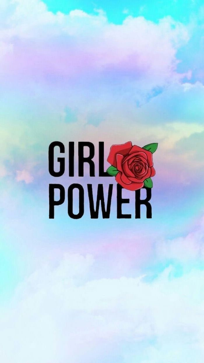 Girl Power Red Rose Kawaii Background Blue And Purple 700x1244