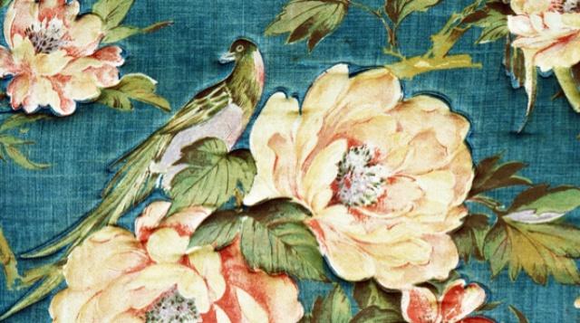 Wallpaper Bird Flowers Blue Green walls Pinterest 640x357