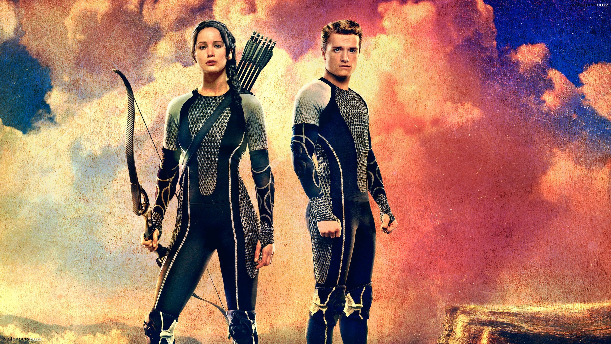 Katniss and Peeta before the fight HD Wallpaper 2560x1440