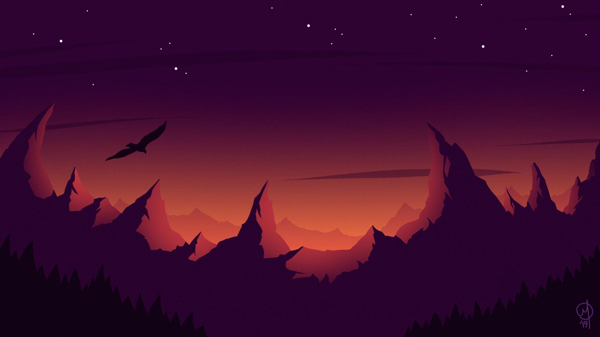 Download wallpaper 1920x1080 bird silhouette vector mountains 1920x1080