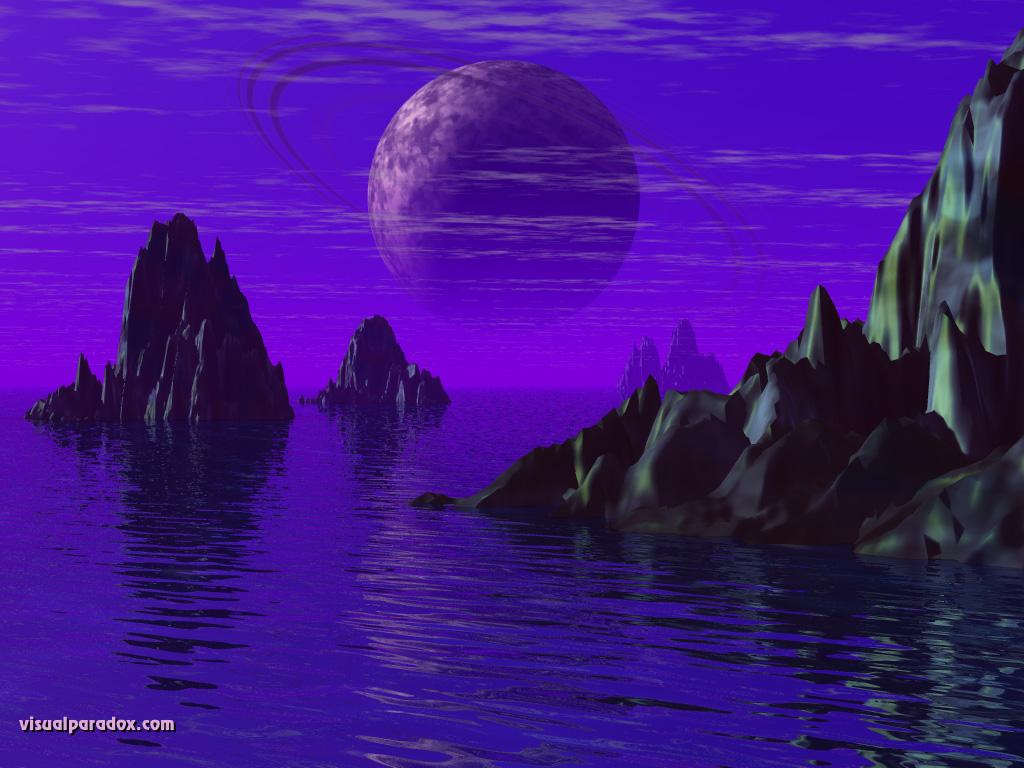 planet ocean sea rocks spires horizon saturn 3d wallpaper 1024x768