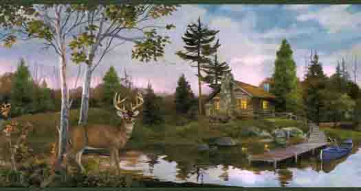 horse wallpaper border Buck By The Cabin Wall Paper Border Pattern 525x279
