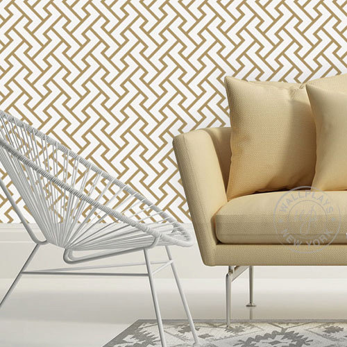 Retro Geometric Pattern Gold Removable Wallpaper   Peel Stick 500x500