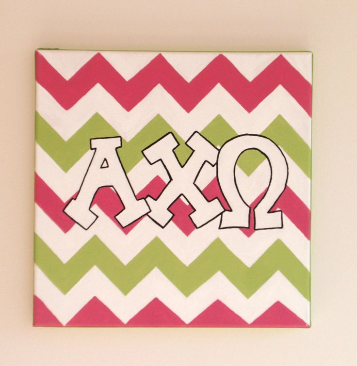 hand painted Alpha Chi Omega letters outline with chevron background 736x755