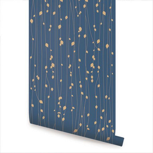 Leaves Blue Peel and Stick Fabric Wallpaper   2ft x 4ft sheet 500x500