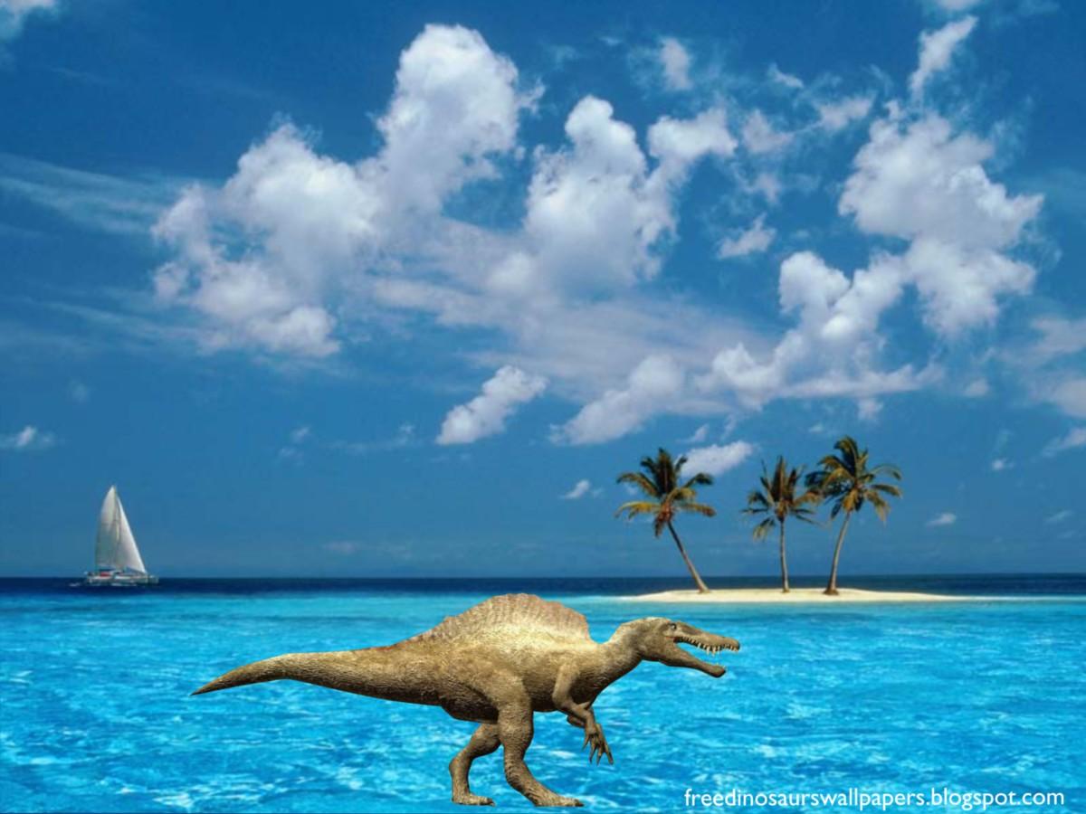 Dinosaurs Wallpapers Terrible Spinosaur in Blue Island Desktop 1200x900