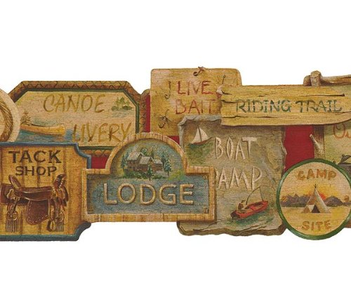 Camping Signs Lodge Wallpaper Border Tools 500x437