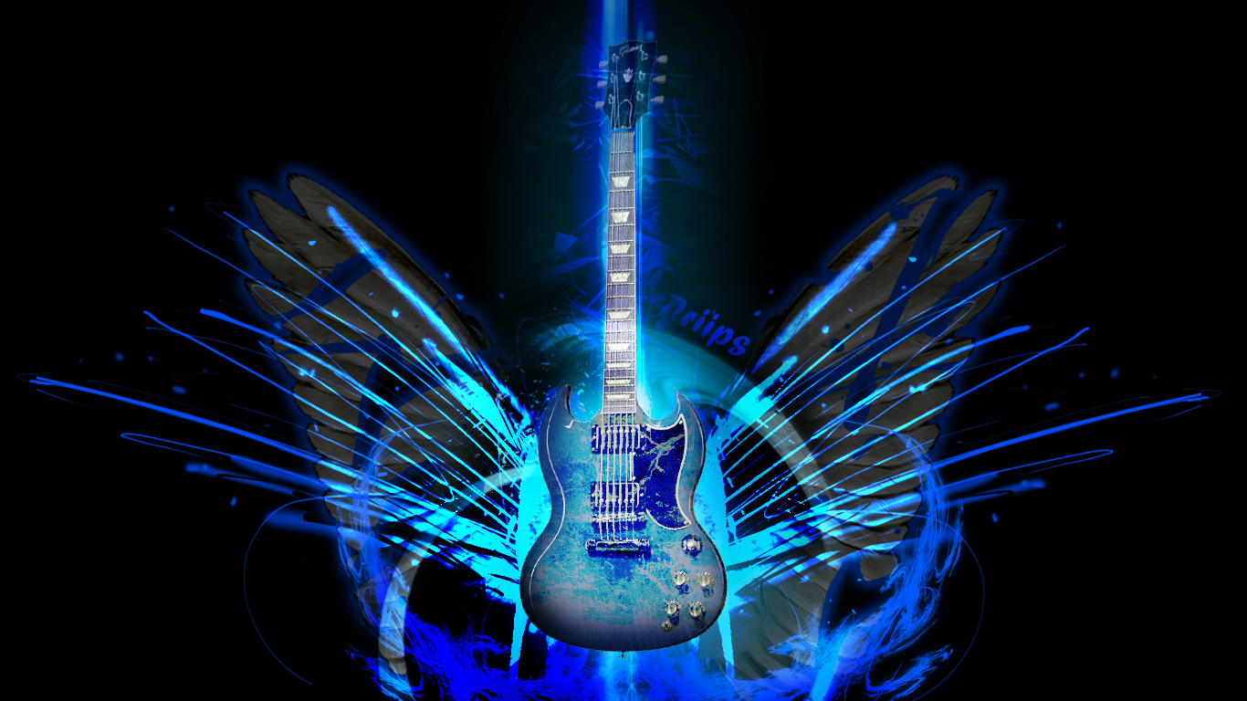 Cool Guitar Backgrounds Blue Electric Blue Guitar By 1366x768