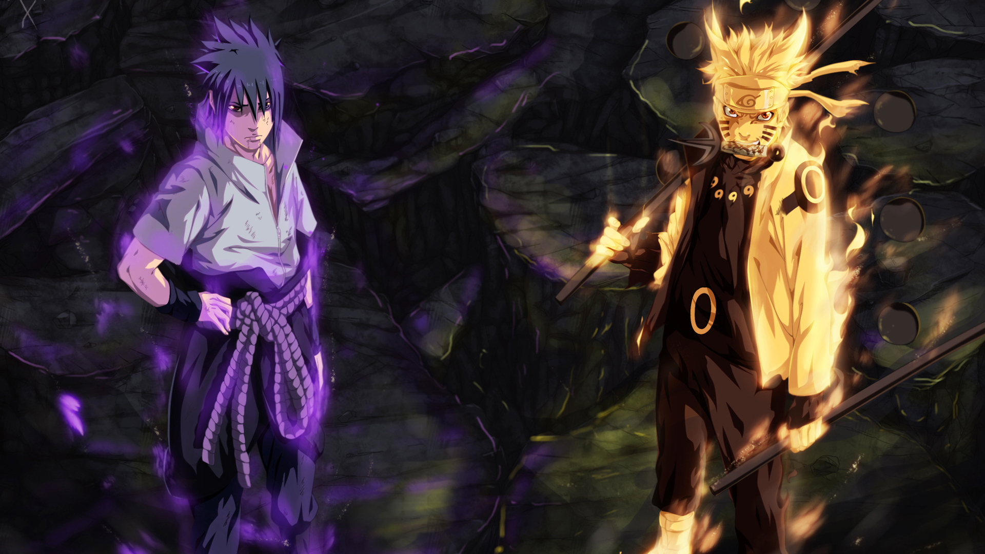 sasuke uchiha sharingan and rinnegan eyes and naruto uzumaki sage of 1920x1080