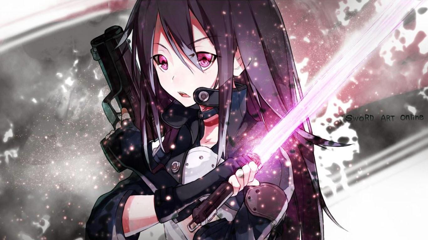 kirito laser sword pistol sword art online 2 gun gale online anime 1366x768
