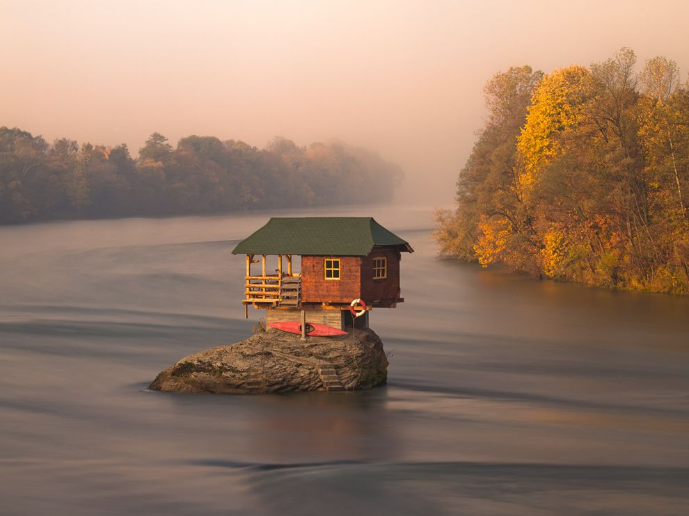 in the middle of Drina River near the town of Bajina Basta Serbia 990x742