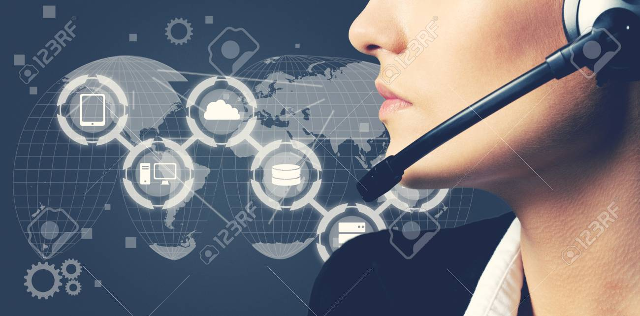 Woman Call Center Operator On Dark Background Stock Photo Picture 1300x642