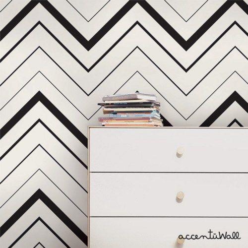 Chevron Bold Black Peel and Stick Fabric Wallpaper Repositionable 500x500