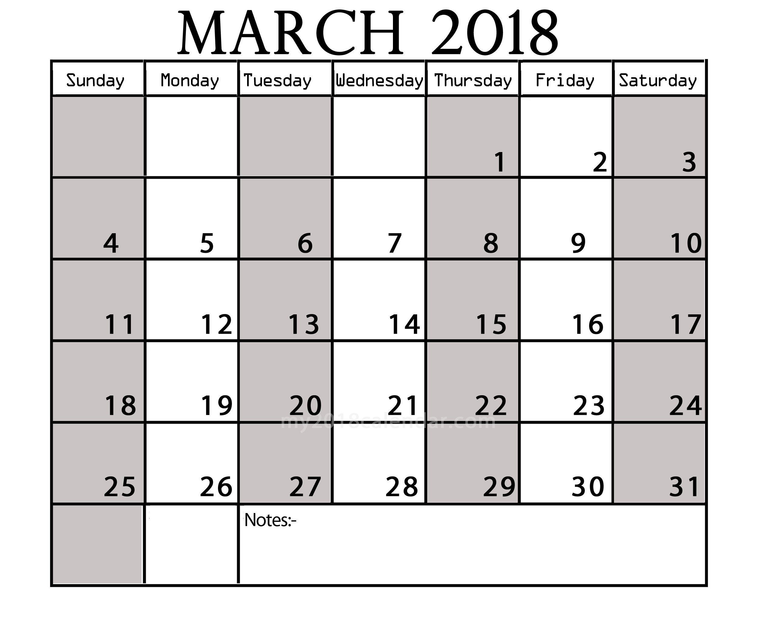 March 2018 Printable Wall Calendar Calendar Templates 2500x2100