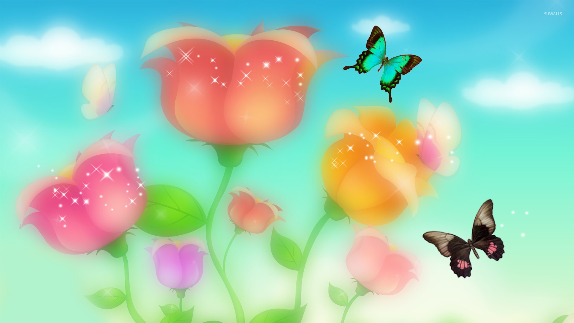Sparkling roses and butterflies wallpaper   Digital Art wallpapers 1920x1080