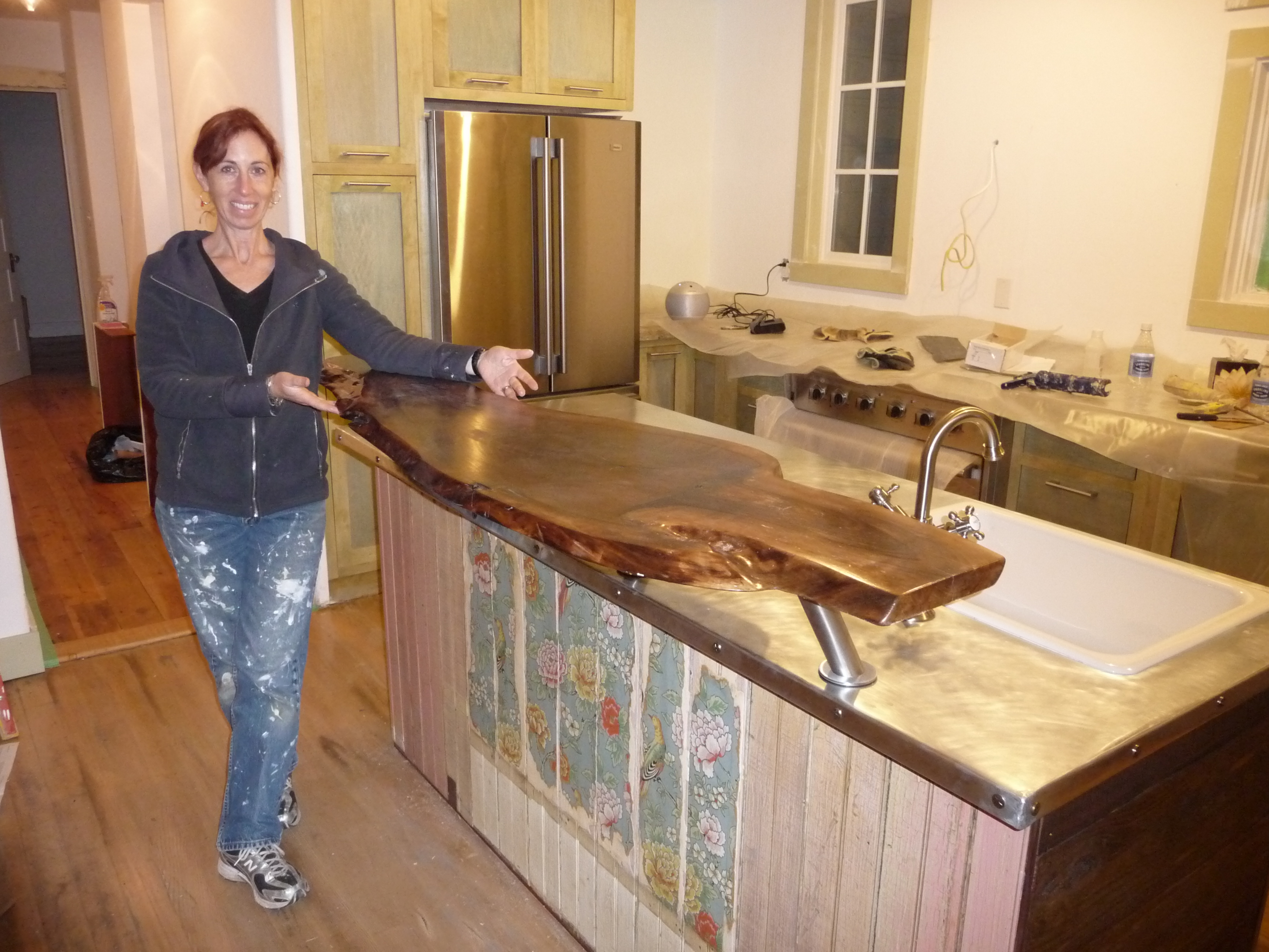 wallpaper for bar counter kitchen counter table with walnut slab bar counter and antique wallpaper on beadboard