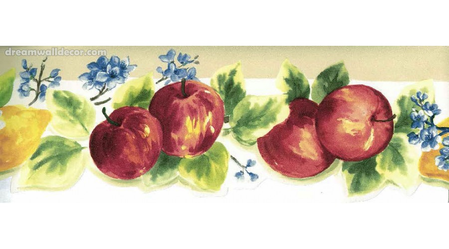 Home Fruits Apple Blue Flowers Wallpaper Border 900x500