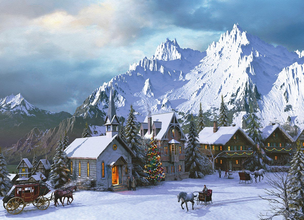 Christmas Mountain.Free Download Christmas Mountain 1200x868 For Your Desktop