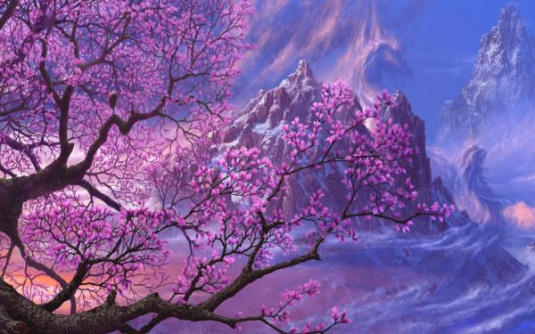 purple fantasy art asia artwork anime 1920x1080 wallpaper wallpaper 600x375