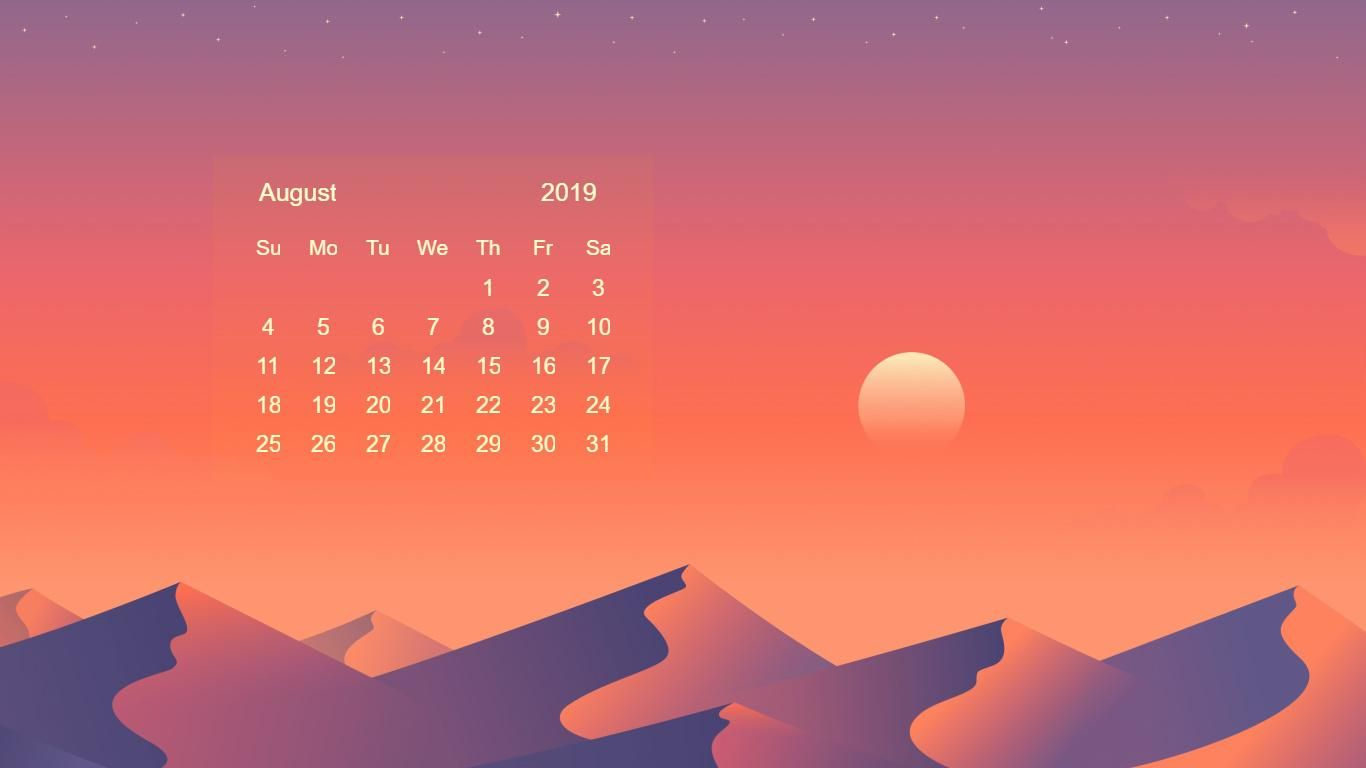 august 2019 calendar wallpaper Calendar 2019 Wallpapers in 2019 1366x768