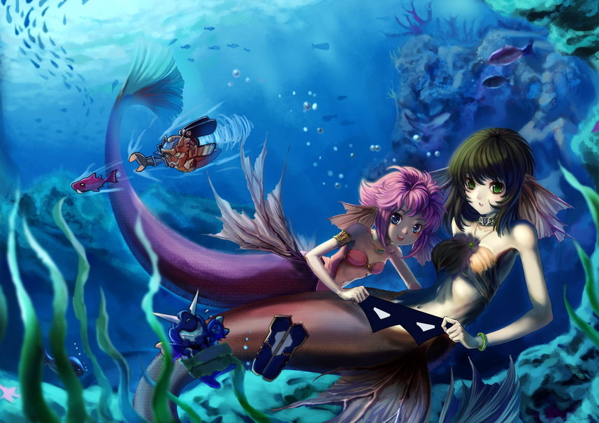 Anime mermaid girl cute