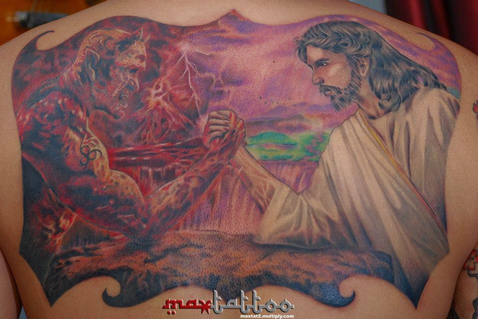 Jesus VS Satan Tattoo   a photo on Flickriver 960x640