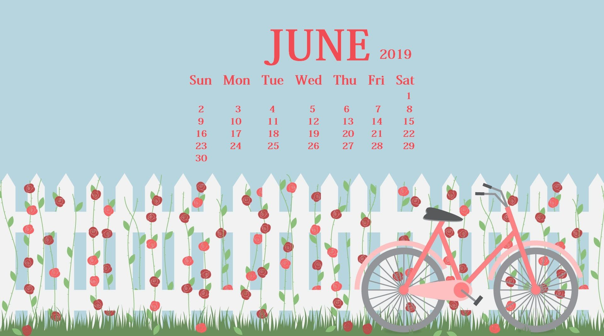 Waterproof June 2019 Calendar Wallpaper For Desktop Iphone 1920x1068