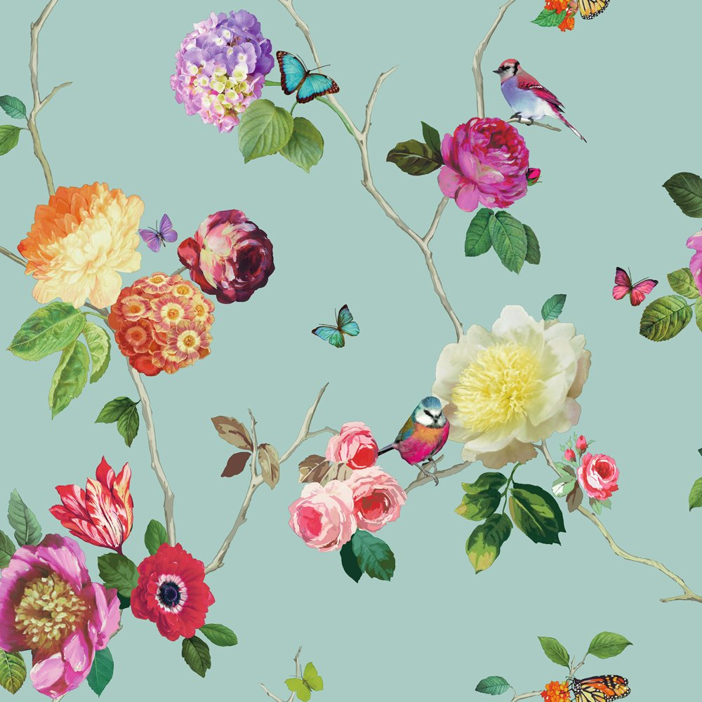 Flower Pattern Bird Butterfly Rose Floral Motif Wallpaper 889800 1000x1000