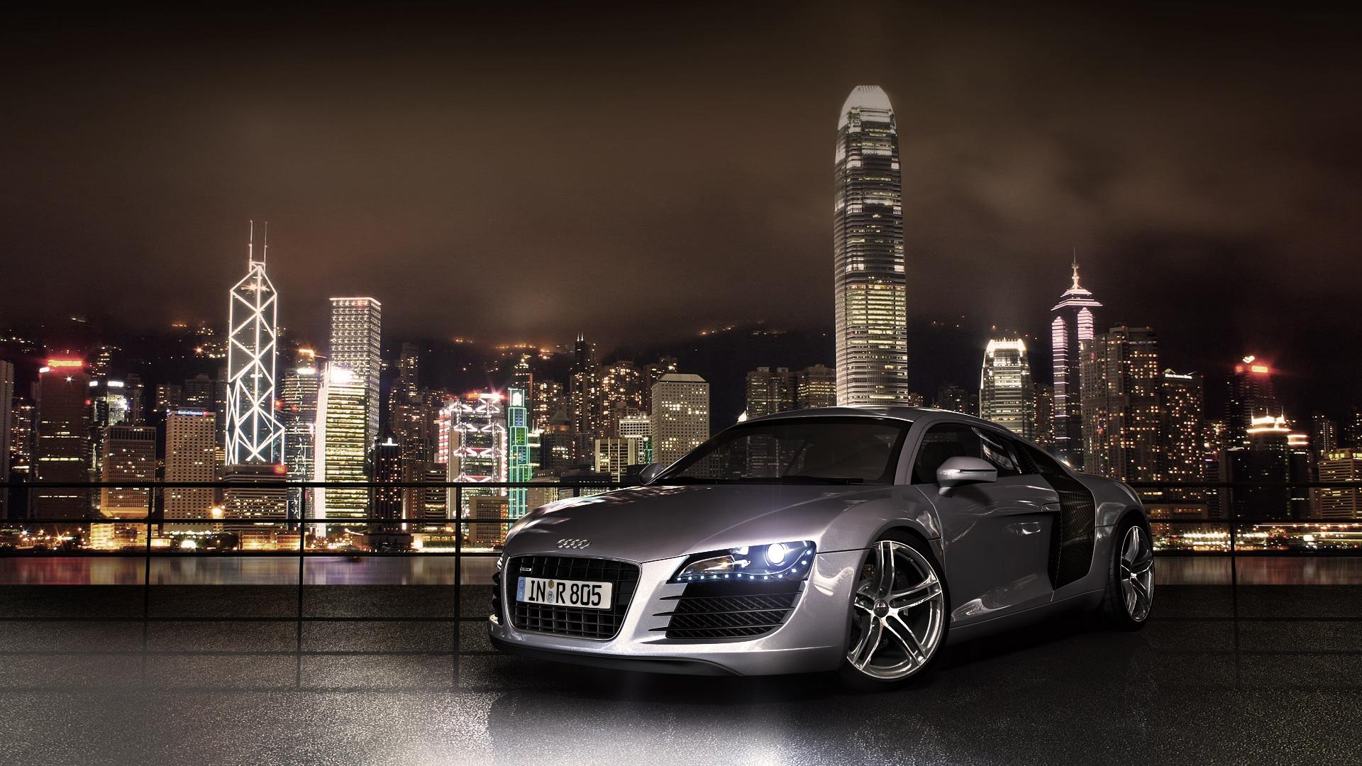 cities cars audi audi r8 skyscraper illumination nightlife 1920x1080