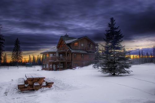 Winter Log Cabin Flickr   Photo Sharing 500x335
