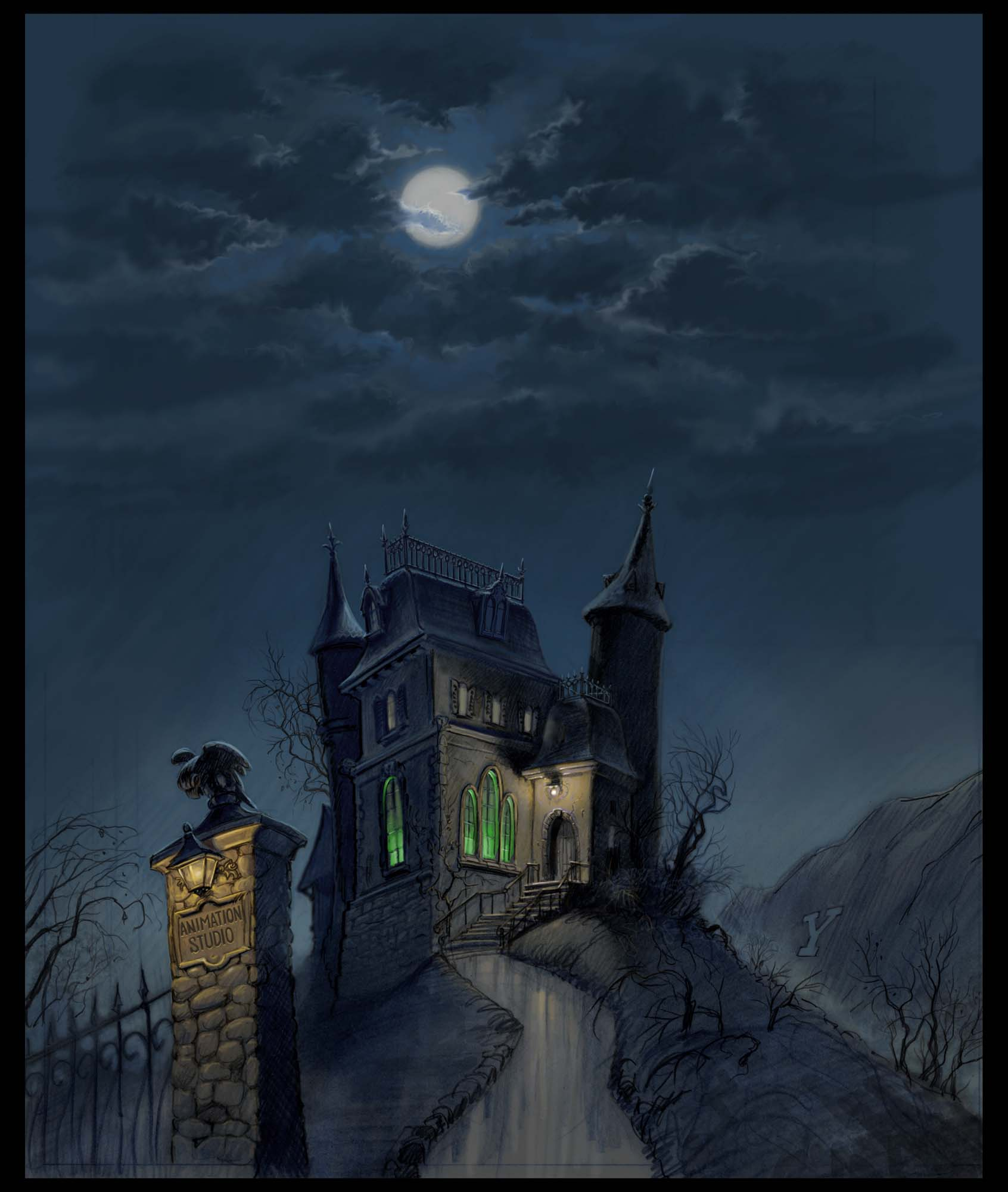 Halloween House Decorations: Animated Haunted House Wallpaper