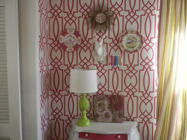 Pink trellis wallpaper   Grata by York textiles and wallpaper P 640x480