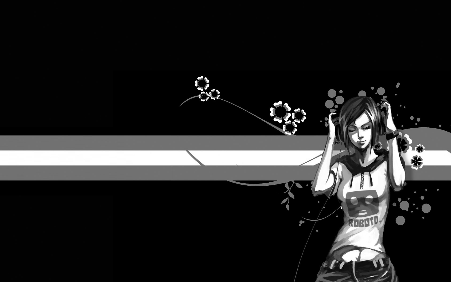 black and white abstract backgrounds flowers art designs wallpapers 1920x1200