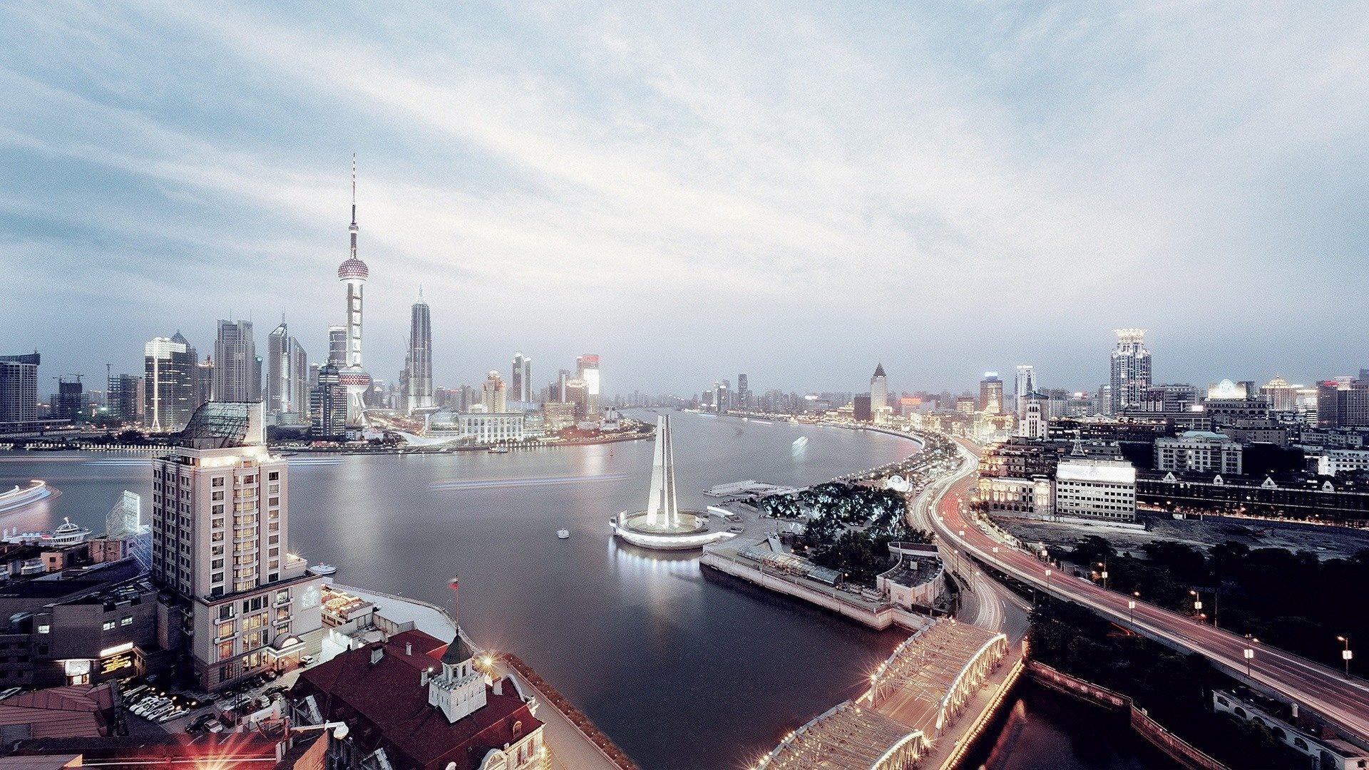 Shanghai Skyline Wallpaper HD Background 1920x1080