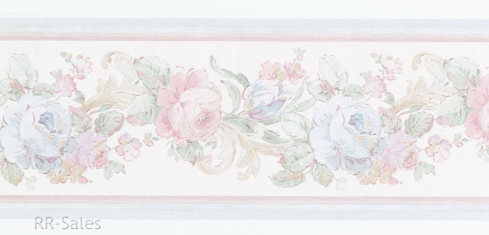 Free Download Sheen Floral Shabby Blue Cabbage Rose Vtg Wall